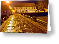Baroque Town Of Varazdin Square At Evening Greeting Card