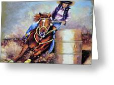 Barrel Rider Greeting Card by Susan Jenkins