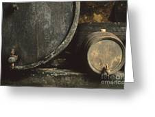 Barrels Of Wine In A Wine Cellar. France Greeting Card