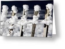 Barriere En Bois Recouverte De Neige Les Contamines Montjoie Haute Savoie Greeting Card