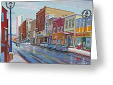 Barrington St In Winter Greeting Card