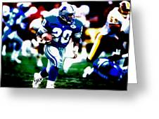 Barry Sanders On The Move Greeting Card
