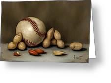 Baseball And Penuts Greeting Card by Clinton Hobart