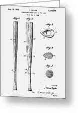 Baseball Bat Patent 1939 Greeting Card