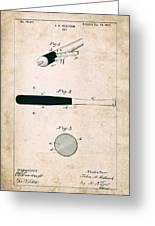 Baseball Bat - Patent Drawing For The 1902 John Hillerich Basebal Bat Greeting Card