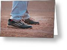 Baseball Cleats In The Dirt Greeting Card by Kelly Hazel