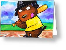 Baseball Dog Greeting Card by Scott Nelson