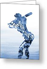 Baseball Girl-blue Greeting Card