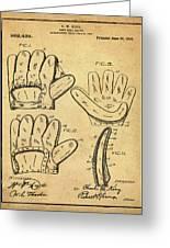 Baseball Glove Patent 1910 Sepia With Border Greeting Card
