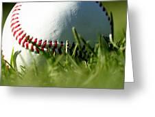 Baseball In Grass Greeting Card