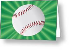 Baseball Over Green Greeting Card