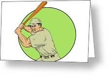 Baseball Player Batting Stance Circle Drawing Greeting Card