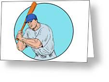 Baseball Player Holding Bat Drawing Greeting Card