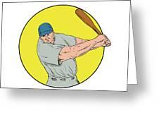 Baseball Player Swinging Bat Drawing Greeting Card
