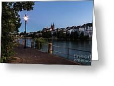 Basel At Night Greeting Card