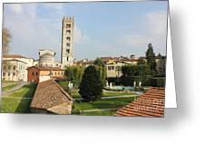 Basilica Di San Frediano With Palazzo Pfanner Gardens Greeting Card