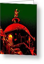 Basilica Of The Little Flower, Dome With Green Sky Greeting Card