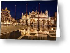 Basilica San Marco Reflections At Night - Venice, Italy Greeting Card