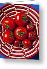 Basket Full Of Red Tomatoes  Greeting Card by Garry Gay
