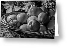 Basket Of Apples Bw Greeting Card