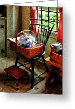 Basket Of Cloth And Yarn On Chair Greeting Card