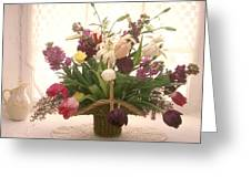 Basket Of Flowers In Window Greeting Card by Garry Gay