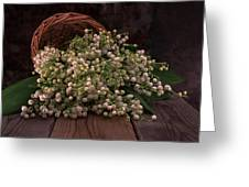 Basket Of Fresh Lily Of The Valley Flowers Greeting Card
