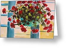 Basket Of Geraniums Greeting Card