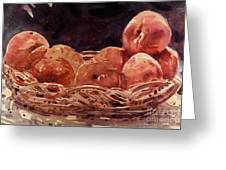 Basket Of Peaches Greeting Card