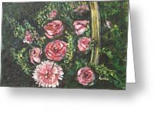 Basket Of Pink Flowers Greeting Card