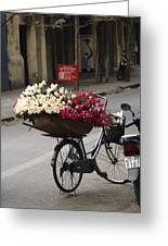 Basket Of Roses Greeting Card by Lee Stickels