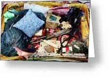 Basket Of Sewing Supplies Greeting Card