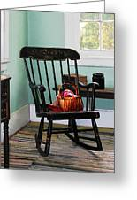 Basket Of Yarn On Rocking Chair Greeting Card by Susan Savad