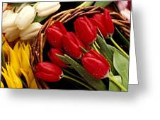 Basket With Tulips Greeting Card by Garry Gay