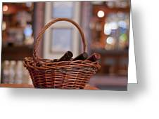 Basket With Wine Bottles Greeting Card