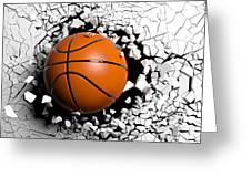 Basketball Ball Breaking Forcibly Through A White Wall. 3d Illustration. Greeting Card