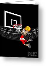 Basketball Player Jumping In The Stadium And Flying To Shoot The Ball In The Hoop Greeting Card