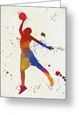 Basketball Player Paint Splatter Greeting Card