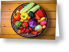 Basketful Of Fresh Vegetables Greeting Card