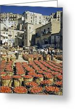 Baskets Filled With Tomatoes Stand Greeting Card by Luis Marden