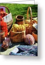 Baskets Of Yarn At Flea Market Greeting Card