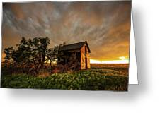 Basking In The Glow - Old Barn At Sunset In Oklahoma Panhandle Greeting Card