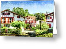 Basque Houses In Ainhoa 2- Vintage Version Greeting Card