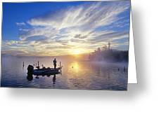 Bass Fisherman At Dawn, Oregon Cascades Greeting Card