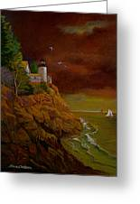 Bass Harbor Light Mt Desert Maine Greeting Card
