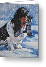 basset Hound in snow Greeting Card