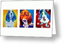 Basset Trio Greeting Card by Alicia VanNoy Call