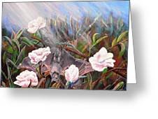 Bat In Rose Bush Greeting Card