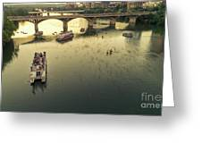 Bat Watchers Stand In Tour Boats As The Bats Take Flight During Sunset On The Congress Avenue Bridge Greeting Card