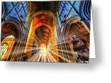 Bath Abbey Sun Rays Greeting Card